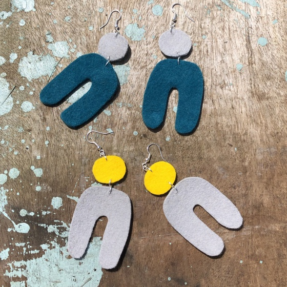 'Matty' abstract felt earrings