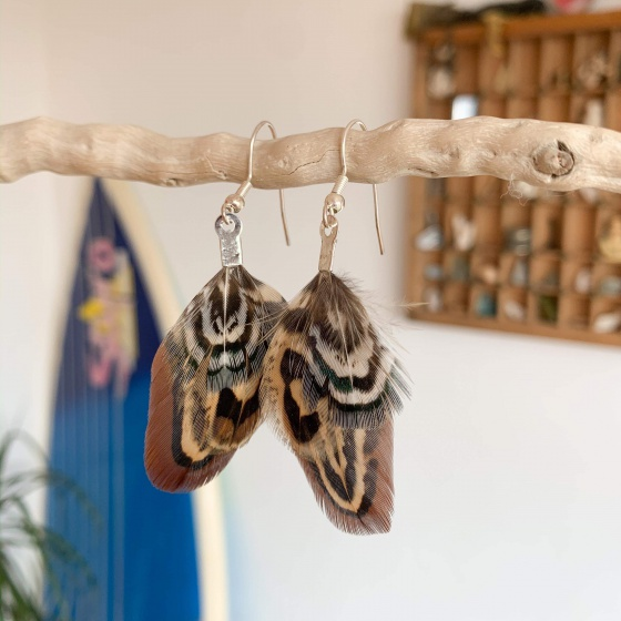 'Copper' pheasant earrings