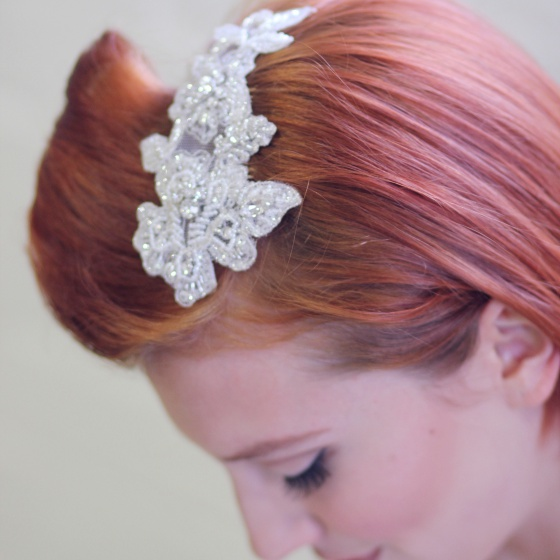 'Gretta' Beaded lace hair comb