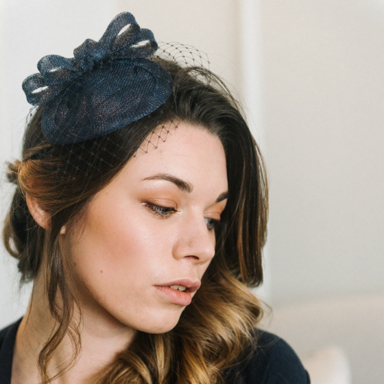 'Loretta' Navy Headpiece