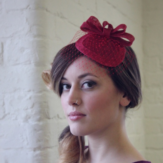 'Loretta' Red Headpiece
