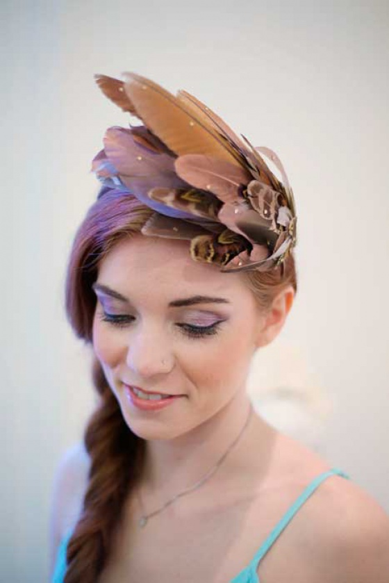 Dramatic Rose Gold Feather Headpiece