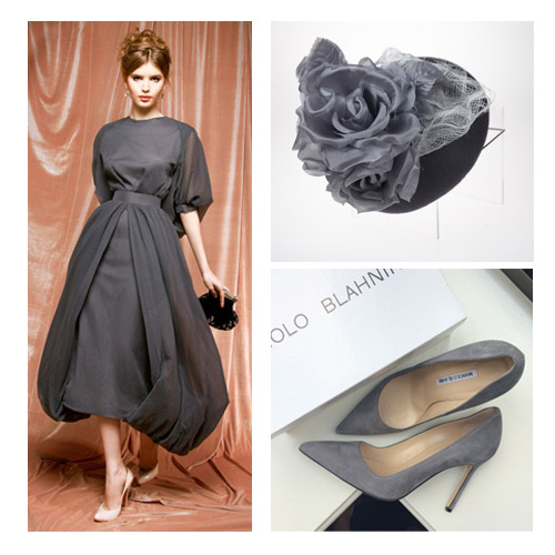Grey-Wedding-Races-Headwear-Outfit