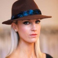 Chocolate-Trilby-with-blue-feathers-Holly-Young
