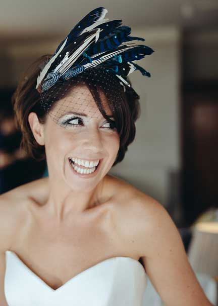 blue feather headdress for a bride