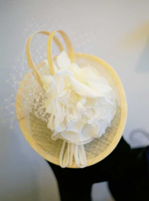 cream and ivory hat for wedding races