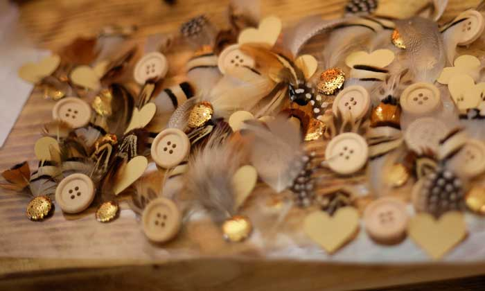 feather buttonholes woodland style