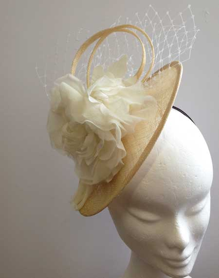 natural ladies wedding hats to hire in Cornwall