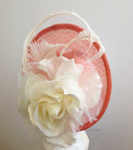 ladies apricot hat with ivory flower