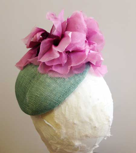 small pill box hat in turquoise & pink